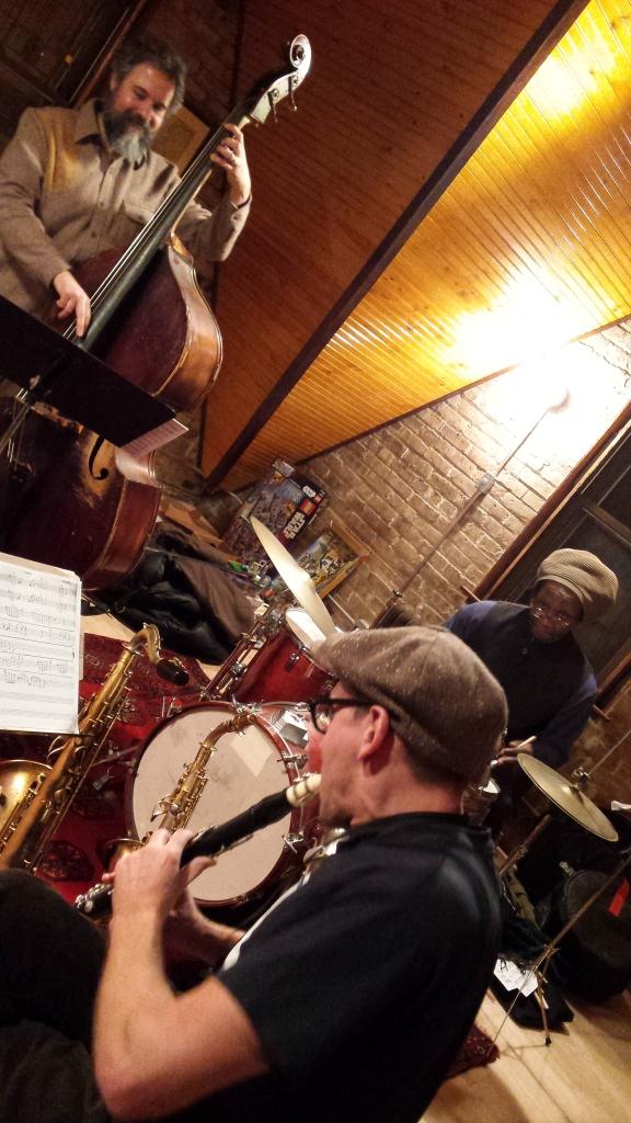 Josh Abrams, Jon Doyle, Hamid Drake. Rehearsal, 16 February 2017.