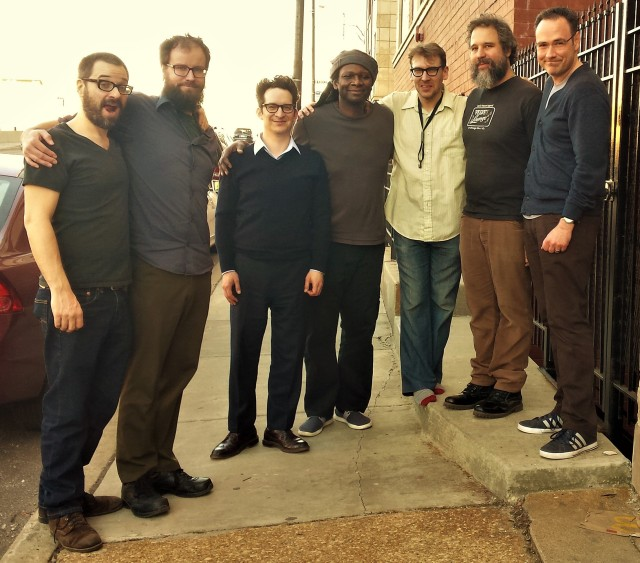 (L to R): Jason Adasiewicz (vibes, leader); Greg Norman (engineer); Josh Berman (cornet); Hamid Drake (drums, percussion); Jon Doyle (saxes, clarinet); Joshua Abrams (bass); Rob Christopher. Outside Electrical Audio, Chicago, 19 February 2017.
