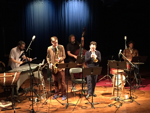 L to R: Jason Adasiewicz, Keefe Jackson, Joshua Abrams. Josh Berman, Mike Reed. Performing at Constellation in Chicago, 4 November 2017.