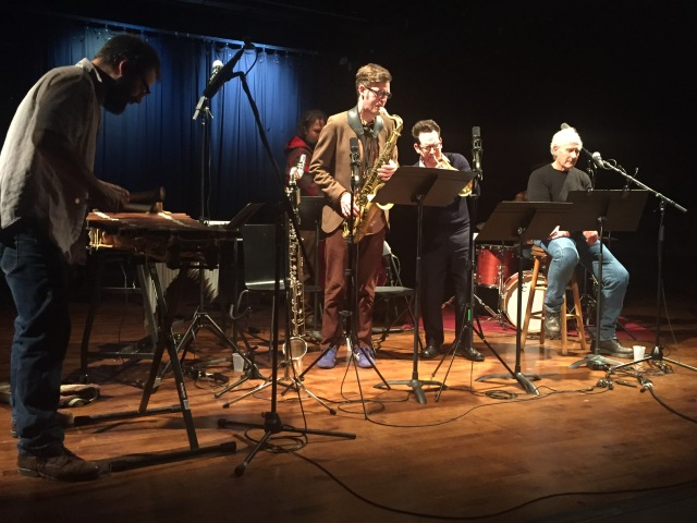 L to R: Jason Adasiewicz, Joshua Abrams, Keefe Jackson, Josh Berman, Barry Gifford. (Mike Reed not pictured.) Performing at Constellation in Chicago, 4 November 2017.